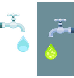 Water taps with clean and toxic drops vector