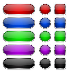 web buttons colored shiny icons with chrome frame vector image