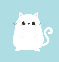 White cute sitting cat bakitten cartoon kitty vector