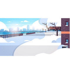 winter city snowy residential area sunshine vector image