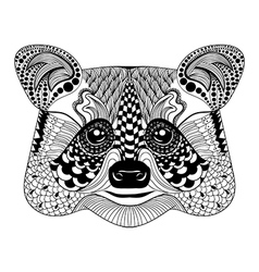Zentangle stylized Black Raccoon face Hand Drawn vector image