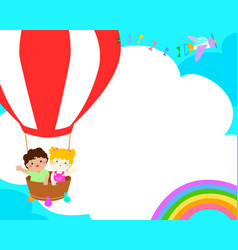 blank template happy kid in the balloon poster vector image vector image