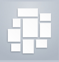 blank white 3d paper canvas or photo frames vector image vector image