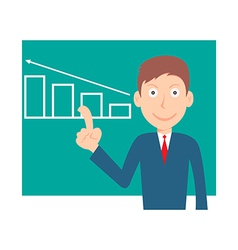 Businessman pointing at graph vector image vector image