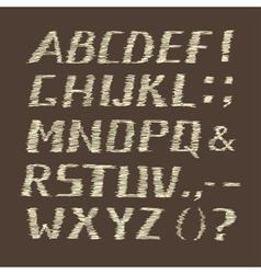 Handwritten Chalk Alphabet on Brown Background vector image