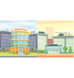 set hospital building cartoon modern vector image