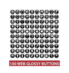 100 web black glossy buttons set vector image vector image