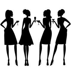 cocktail party silhouettes vector image vector image