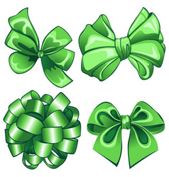 set with green bows vector image vector image