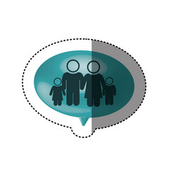 sticker of oval speech with pictogram of family vector image