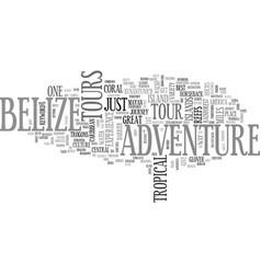 Belize adventure tours text word cloud concept vector