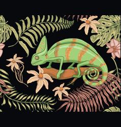 chameleon lizard tropical flowers seamless vector image