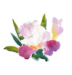 closeup of watercolor hand drawn summer flowers vector image vector image