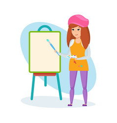girl paints in hands tries herself as artist vector image vector image