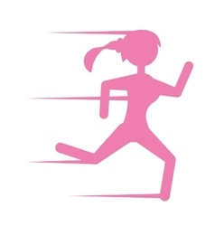 pink silhouette girl running sport vector image vector image