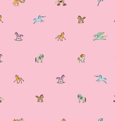 pink sparse pattern with toy horses vector image vector image