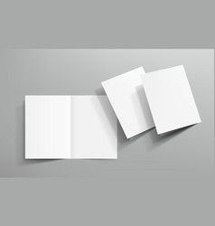 3d open blank clear square book on gray background vector image