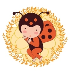 A beautiful ladybug baby card vector image