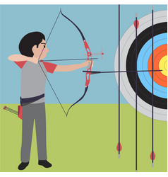 archery athletic sport cartoon set vector image