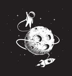 Astronaut with spaceship and moon vector