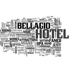 Bellagio hotel text word cloud concept vector
