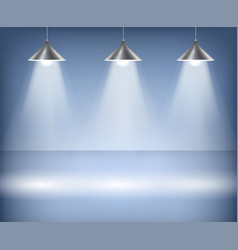 blue background with spotlights studio vector image