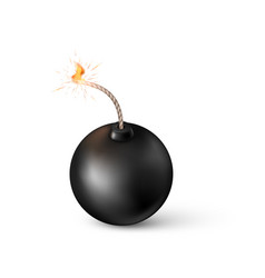 bomb burning fuse black in realistic style vector image