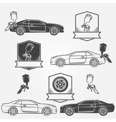 Car painting emblems or labels vector