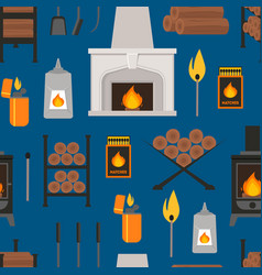 cartoon fireplace background pattern vector image