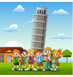 cartoon happy kids in front of pisa tower backgrou vector image