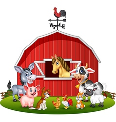 Cartoon of Farm background with animals vector