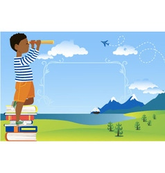 Children reading poster vector