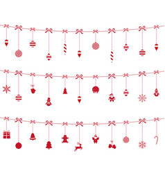 christmas red ornaments hanging vector image