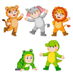 collection children wearing cute wild animal costu vector image