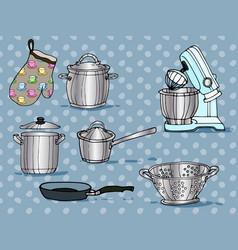 Color hand-drawn artwork kitchen utensils vector