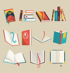 colorful books icons set vector image