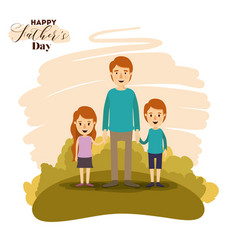 Colorful card of landscape with dad and daugther vector
