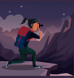 colorful night landscape of hiking woman taking a vector image