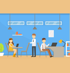 coworking space with people sitting at desks vector image
