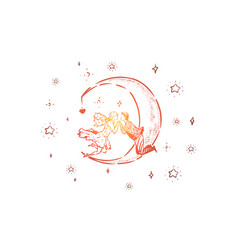 Cute couple floating in sky half moon and stars i vector