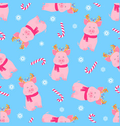 cute pig sitting in a scarf and with deer horns vector image