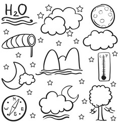 Doodle of weather with cloud moon wind vector