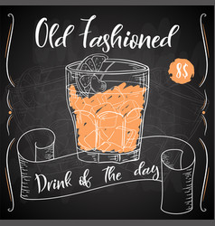 Dring poster cocktail old fashioned vector