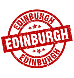 Edinburgh red round grunge stamp vector
