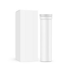 Effervescent tablets tube with carton box vector