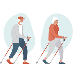 elderly senior couple making nordic walking vector image