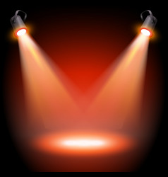 empty red stage with two spotlights vector image