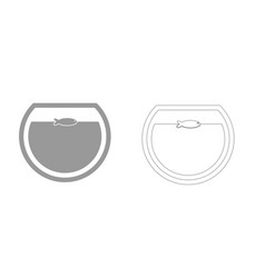 fish in round aquarium grey set icon vector image