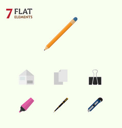 flat icon equipment set of marker drawing tool vector image