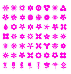 flower 56 simple icon set vector image